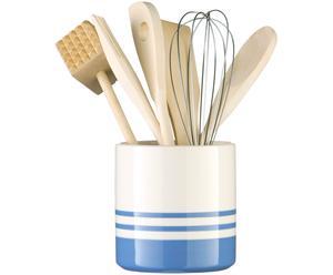 Küchenutensilienhalter Blue Stripe, blau, weiß, Ø 11 x H 12 cm