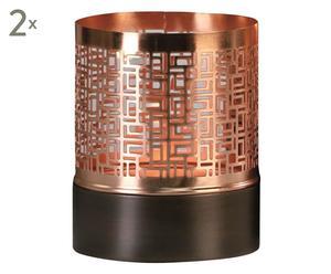 Windlichter-Set Deep, 2-tlg., H 13 cm