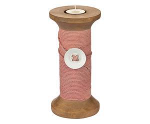 Teelichthalter Wool, rosa, H 20 cm