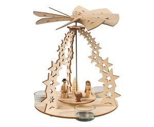 Handgefertigte Teelicht-Pyramide Krippe, Ø 19 cm