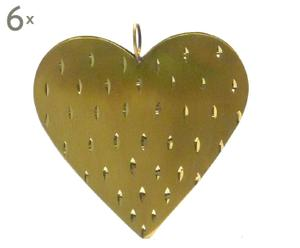 Weihnachtsbaumanhänger Christmas Heart, 6 Stück, B 8 cm