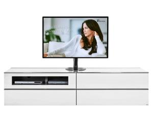 TV-Board Media Glas, mit 2 Klappen & 2 Schubladen, TV-Halterung mittig, weiß, B 228 cm
