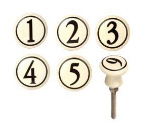 Handgearbeitete Knäufe-Set Zahlen, 6-tlg.