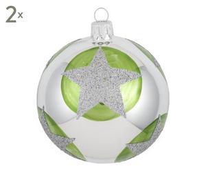 Weihnachtskugeln Allie, 2 Stück, silberfarben/grün, Ø 8 cm