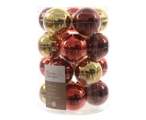 Weihnachtskugel-Set Romy, 20-tlg., goldfarben/rot, Ø 6 cm