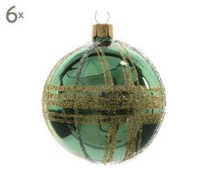 Weihnachtskugeln Mary, 6 Stück, grün, Ø 8 cm