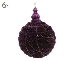 Weihnachtskugeln Bubble, 6 Stück, lila/goldfarben, Ø 10 cm