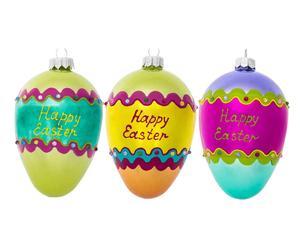 Deko-Anhänger-Set Happy Easter, 3-tlg., H 13 cm