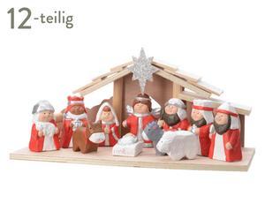 1x Terr.Krippenset Holzhaus 11Fig, 596459