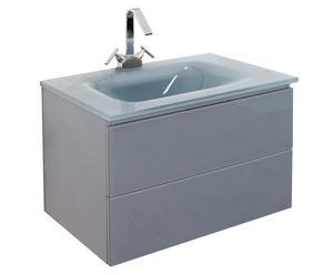 Waschtisch CESARE mit Waschbecken und Wasserhahn, grau, B 72 cm