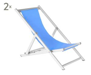Liegestühle BOLOGNA, blau, 2 Stück
