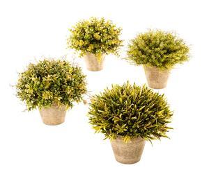 Blumentöpfe Iseo mit Kunstpflanzen, 4-tlg.