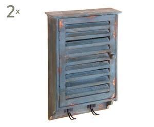 Schlüsselkästen Valerie, 2 Stück, blau/naturfarben, B 28 cm