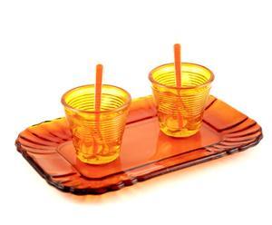 Set per espresso arancione (1 vassoio + 2 bicchieri + 2 bacchette)