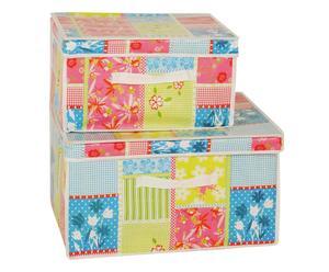 Aufbewahrungsboxen-Set Patchwork mit Deckel, 2-tlg.