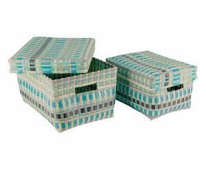 Aufbewahrungskorb-Set Doga mit Deckel, 2-tlg.