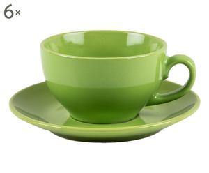 Tassen Fella mit Untertassen, 6 Stück, grün