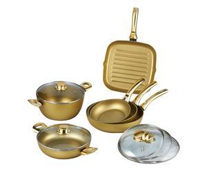 Batteria di pentole in alluminio Stonegold oro - 11 pezzi