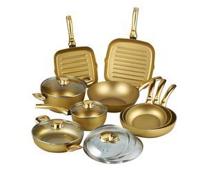 Batteria di pentole in alluminio Stonegold oro - 15 pezzi