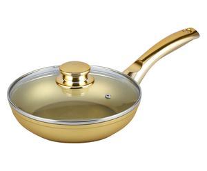 Padella in alluminio con coperchio Stonegold oro - d 20 cm