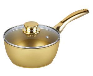 Casseruolino in alluminio con coperchio Stonegold oro - d 18 cm