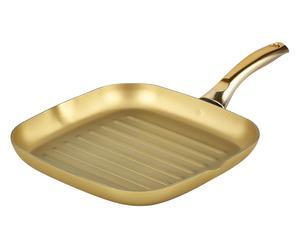 Bistecchiera in alluminio rivestimento Stonegold oro - 28x28 cm