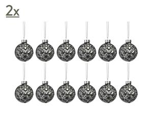 Christbaumkugel-Set Diamant Ant Gris, 24 Stück, Ø 6 cm