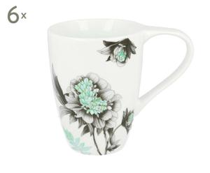 Porzellantassen Flora, 6 Stück, weiß/blau/grau