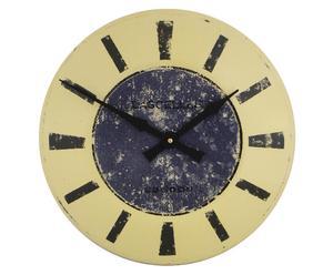 Reloj de pared esmaltado tostado y azul – Ø36 cm