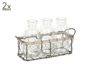 Set de 3 botes de cristal y 1 cesta Wirel