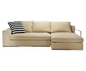 Sofá de 3 plazas con chaise longue London, Beige – Derecha