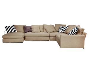Sofá de 6 plazas con chaise longue London, Beige – Derecha