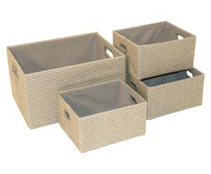 Set de 4 cestas Rockingham - gris