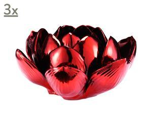 Set de 3 portavelas Lotus - rojo