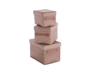 Set de 3 cestas de almacenaje – Marrón
