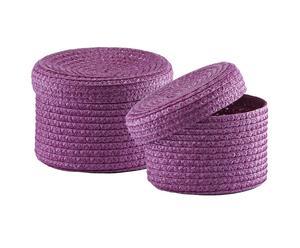 Set de 2 canastas con tapa – Violeta