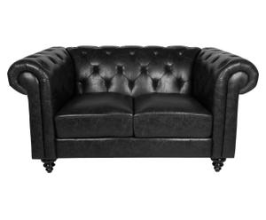 Sofá de 2 plazas de madera y ecopiel DAVINA – negro