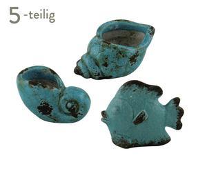 Set de 5 objetos de decoración de cerámica GRANADA – turquesa