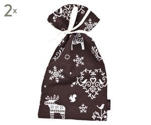 Bolsa de regalo Arosa, marrón y blanco - 24x38
