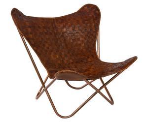Silla Butterfly de hierro y cuero trenzado - marrón
