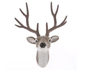 Cabeza de ciervo decorativa en plástico y tela – marrón y blanco