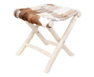 Taburete plegable de piel de cabra – marrón y blanco