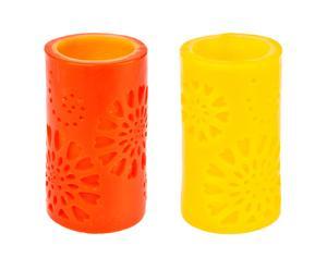 Set de 2 velas LED – amarillo y naranja