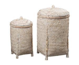 Set de 2 cestas de bambú con tapa Lastovo