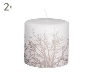 Set de 2 velas Árbol,  blanco y beige - pequeño