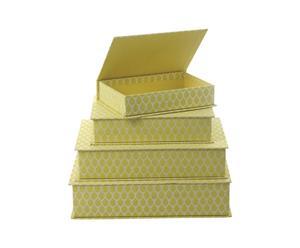 Set de 4 cajas de almacenamiento Neem – Amarillo