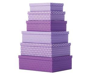 Set de 6 cajas de almacenamiento Neem, rectangular – lila