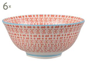 Set de 6 tazones de porcelana Mei - rojo