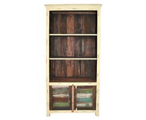 Estantería de madera con 3 estantes y 2 puertas – crema