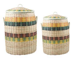 Set de 2 cestos de lavandería hechos a mano Cane